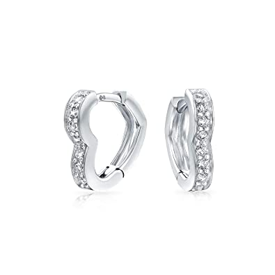 Amazon.com  Heart Shape Cubic Zirconia Pave CZ Hoop Earrings For ... 89db67e1da