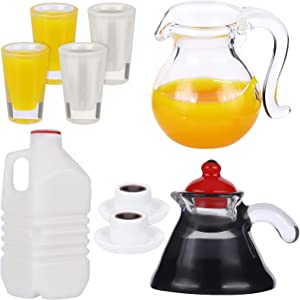 9 Piece Dollhouse Decoration Accessories Miniature Bottle Carton and Glass of Milk Orange Juice and Coffee Set 1:12/ 1:6 Miniature Kitchen Food Pretend Play Toy