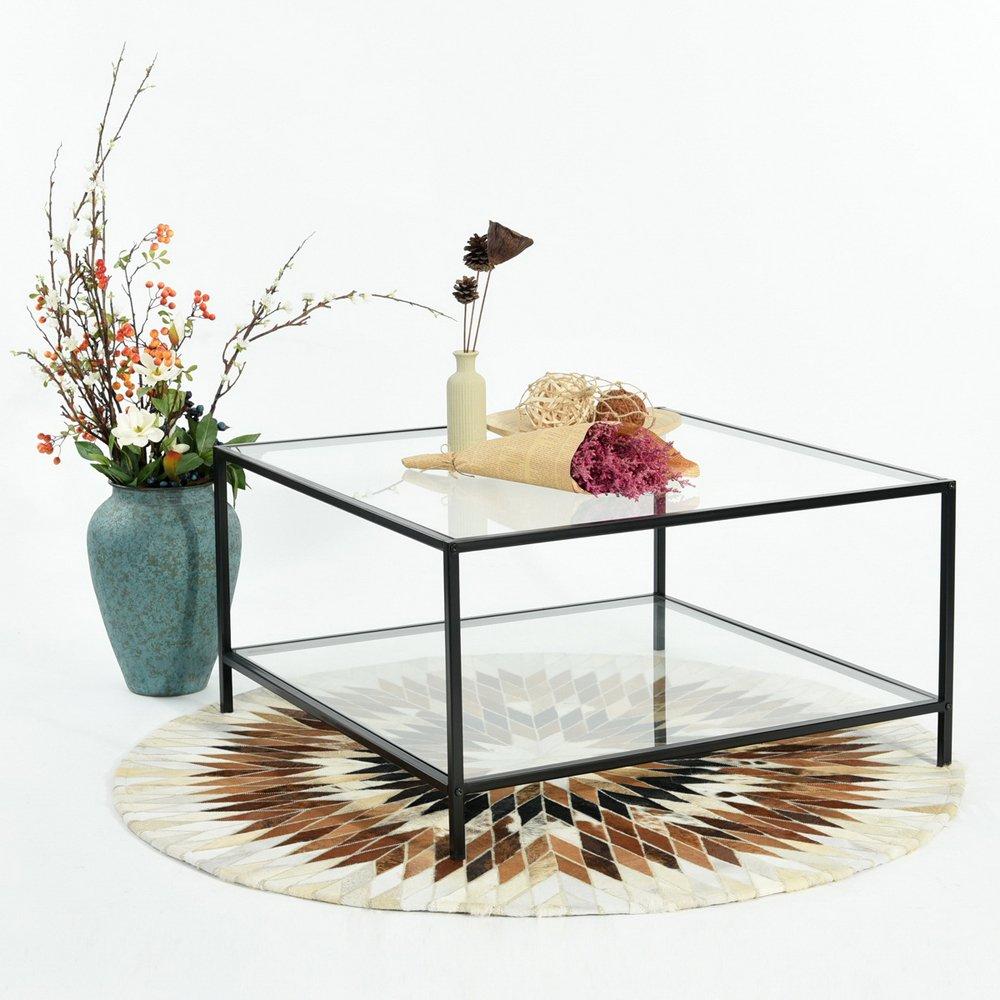 Fit @ Home Couchtisch Stilvolle Top Beistelltisch, quadratisch, quadratisch, quadratisch, aus Glas mit schwarzem Rahmen e96c5d