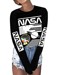 Amazon.com: ZXH Women NASA Long Sleeve Shirt NASA Shirt ...