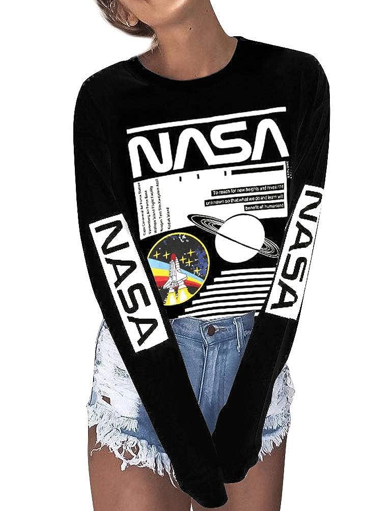 OUNAR Women NASA Long Sleeve Pullover Shirt Graphic Top Cute Crew Neck Blouse