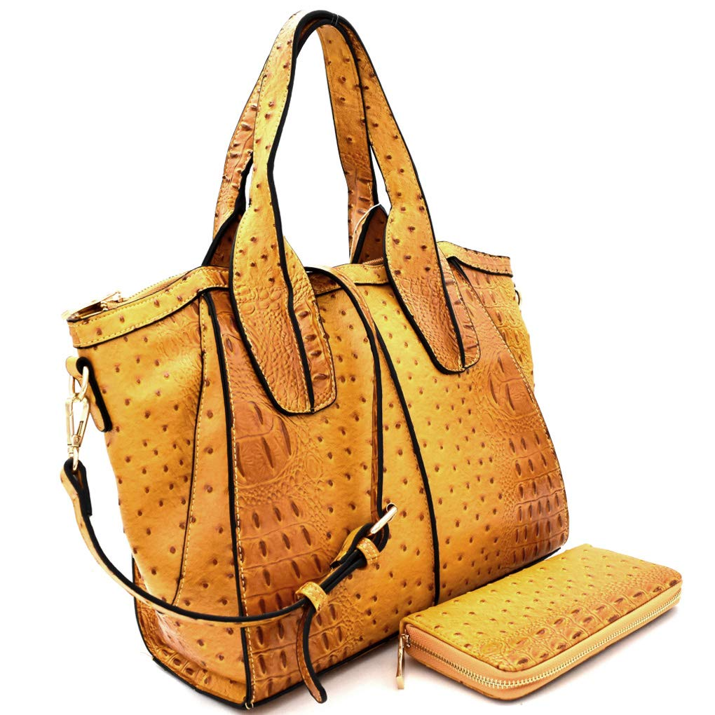 Mustard Handbag Republic Ostrich Embossed Trapezoid Tote w Strap + Wallet 4 colors