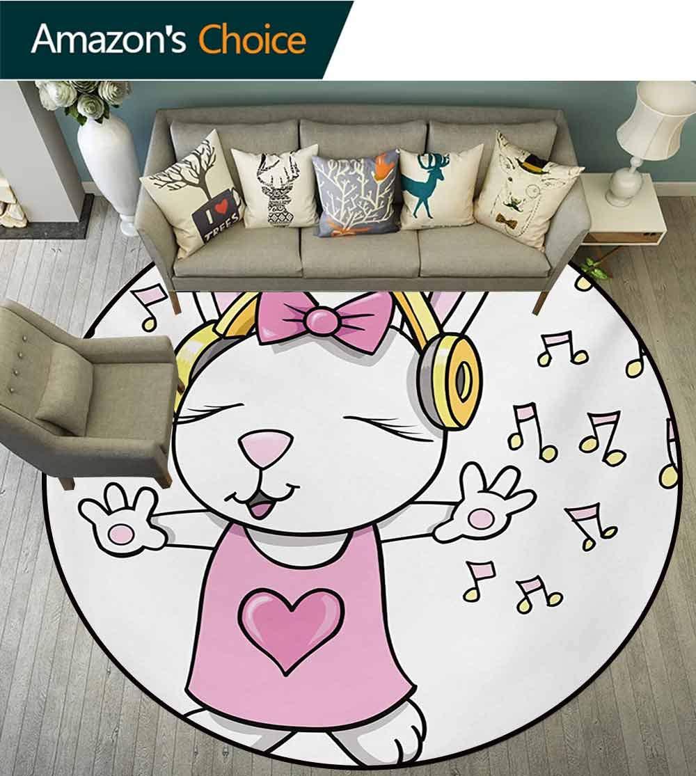 Kids Modern Machine Washable Round Bath Mat,Cute Rock Star Rabbit Bunny with Speakers Music Notes Girls Humor Heart Cartoon Non-Slip Living Room Soft Floor Mat,Diameter-47 Inch