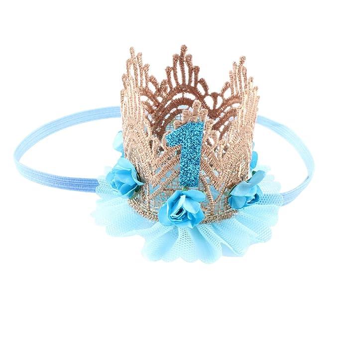 Tangbasi Bebés Vendas del Pelo Princesa Corona Cintas de Flores Regalos para Recién Nacidos (Azul
