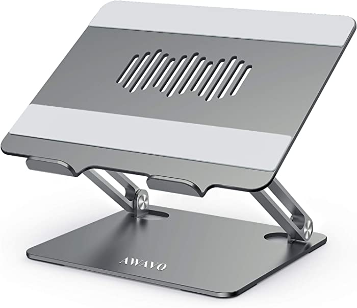 "AWAVO Laptop Stand, Ergonomic Aluminum Computer Stand for Desk, Multi-Angle Laptop Riser with Heat-Vent, Adjustable Holder Compatible with MacBook Air/Pro, Dell, HP, Lenovo, More 10-15.6"" Laptops"