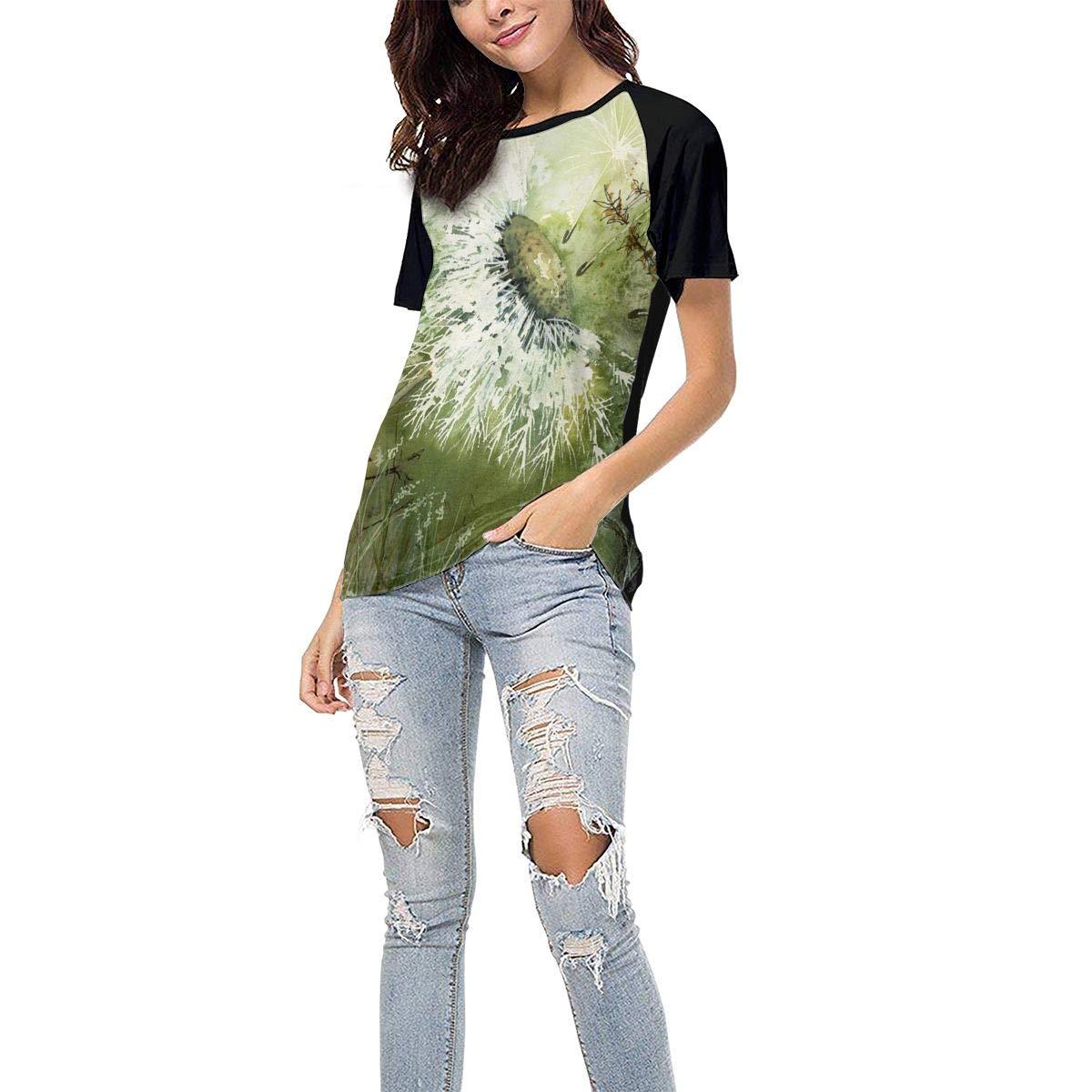 Dandelion Clock Casual Raglan Tee Baseball Tshirts Tops Blouse Womens Summer Short Sleeve