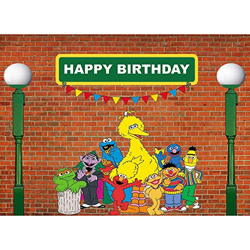 Menggege Brick Wall Photography Backdrops Sesame Street First 1st Second 2nd Third 3rd Boy Girl Birthday Party Banner Baby Shower Photo Background Supply Decoration 7x5ft -