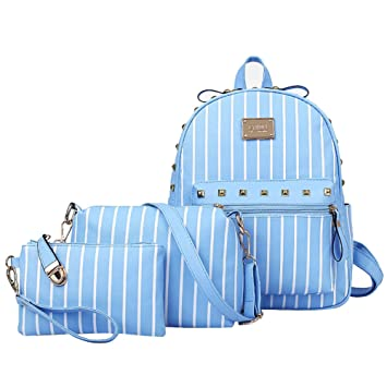 Mochilas Escolares de Rayas de Moda Pequeñas Mochila de Cuero PU Para Mujer Mochila + Bolso de Bandolera + Billetera Azul: Amazon.es: Equipaje