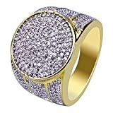 JINAO 18K Gold Plated Iced Out Simulated Diamond Micropave CZ Mens Hip Hop Bling Ring