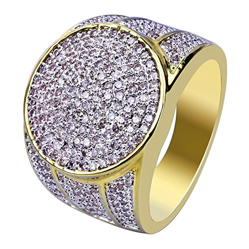 JINAO 18K Gold Plated Iced Out Simulated Diamond Micropave CZ Mens Hip Hop Bling Ring ()