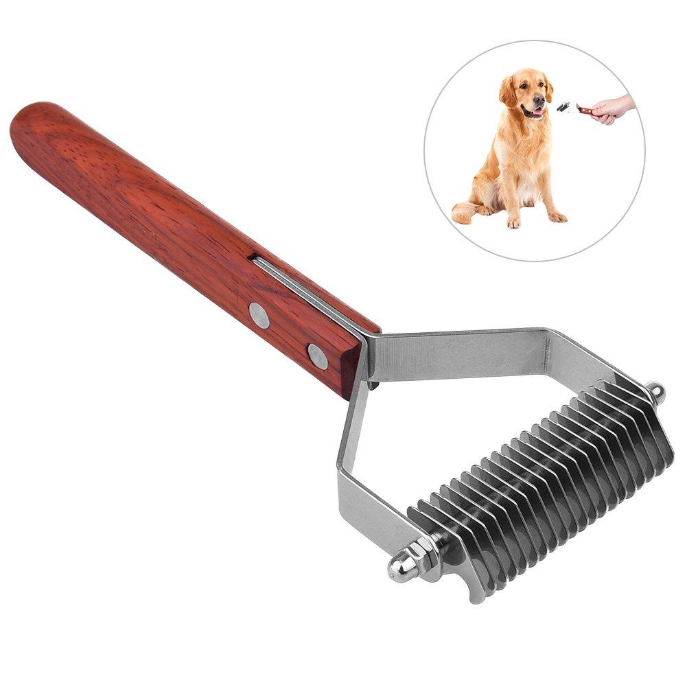 JIGAN Pet Comb, Anti-Slip Wood Handle Grooming Rake, Extra Wide Undercoat Rake, for Medium to Large Dogs, Cats