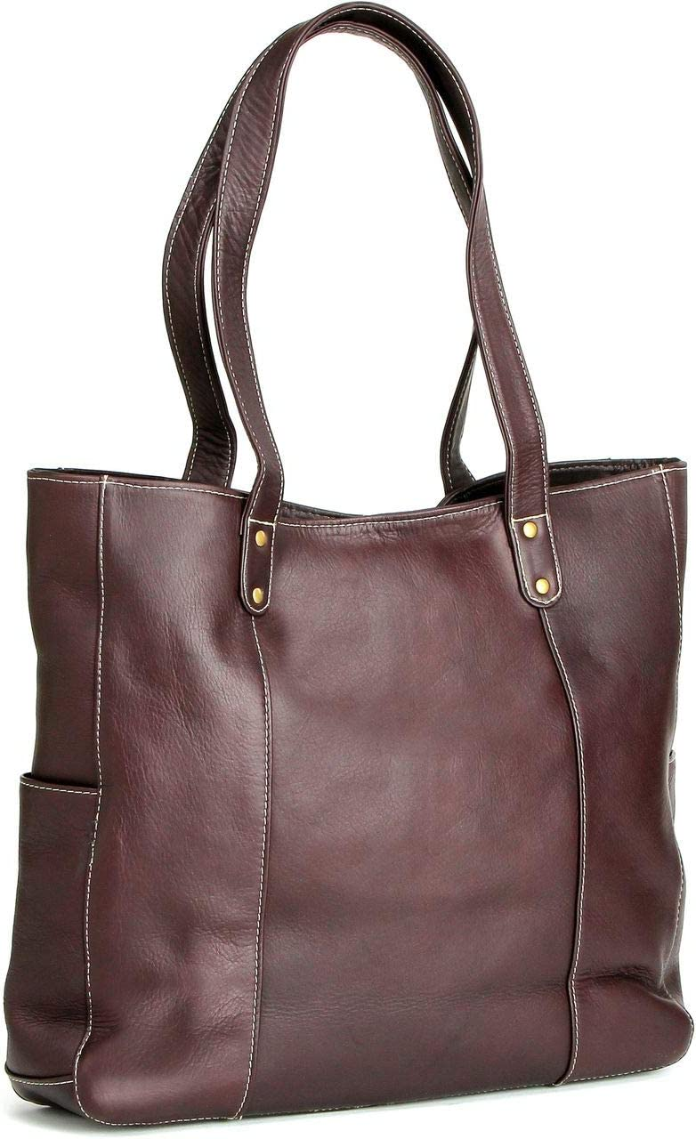 LeDonne Leather Double Strap Rivet Tote Bag Cafe
