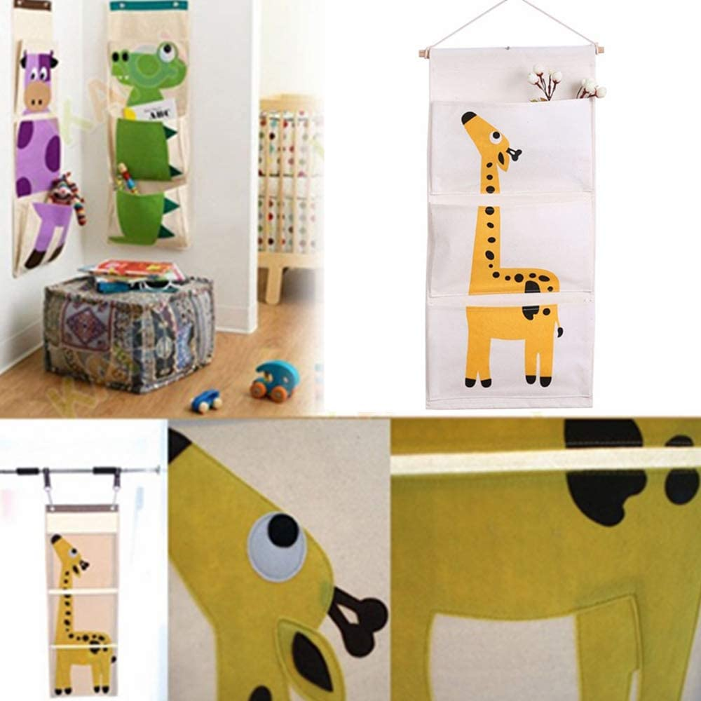 Cotton Fabric Wall Hanging Storage Bag Waterproof Door Closet Organizer Hanging Wardrobe Storage Organiser With 3 Pockets for Nursery Bedroom Bathroom Wardrobe Office Yellow Giraffe