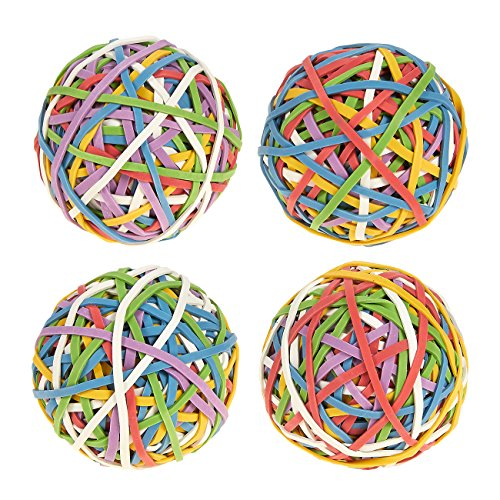 Juvale Set of 4 Multicolored Rubber Bands - Elastic Rubber Bands Pack, Rubber Band Balls for DIY, Arts & Crafts, Document Organizing ()