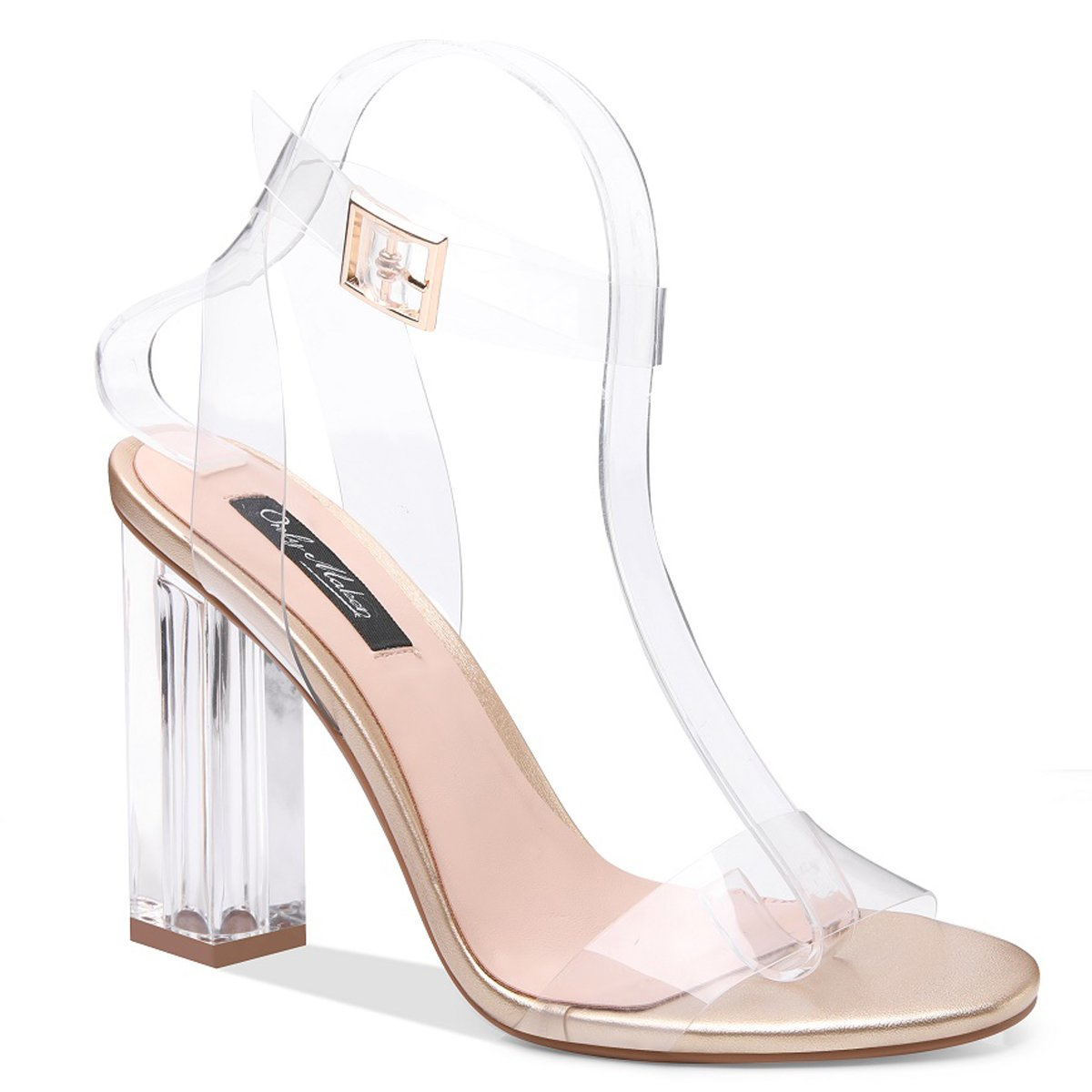 6dd1b4ba666 Onlymaker Women's Lucite Clear Ankle Strap Adjustable Buckle Block Chunky  Perspex High Heel Transparent Dress Sandals