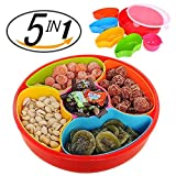 PNBB Colorful 5 Section Round Compartment Plastic Snack Tray with Lid - Easy to Store Your Food,Snack,Nuts,Candies,Dried Fruits