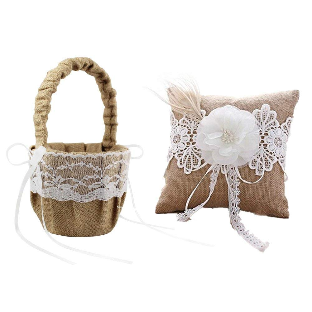 Amazon Rustic Wedding Hessian Burlap Lace Ring Pillow Flower Girl Basket Set Party Favors Kitchen Dining: Wedding Burlap And Lace Ring Pillow At Websimilar.org