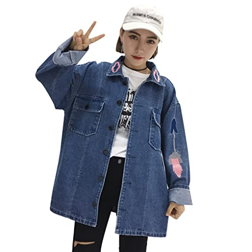 Jacket Outwear Mujeres Jean Pockets Button Slim bordado manga larga Denim Cool Casual Cardigans abri...