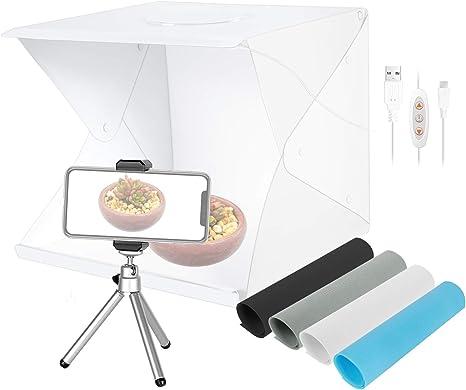 Neewer Caja Luz Sobremesa de 40cm 70 Carpa Estudio Fotografía Portátil con LED (3 Modos Luz/Brillo Regulable/ 4 Fondos Color/Alimentado USB/Mini Trípode/Soporte Teléfono): Amazon.es: Electrónica