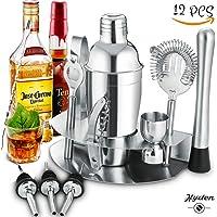 Kit da Barman Set da Cocktail Manhattan in Acciaio Inox per Professionisti e Non - Set con Cocktail Shaker, Misurino, 3 beccucci, Pinze ECC. Portatile per Eventi, Compleanni, Serate