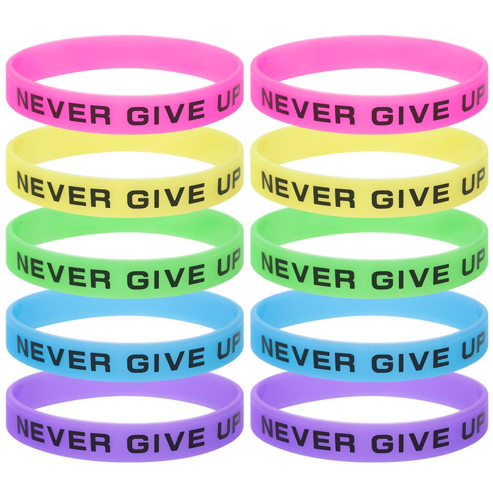 GOGO 30PCS Never Give Up Bracelets/Neon Rubber Wristbands Glow-in-the-dark
