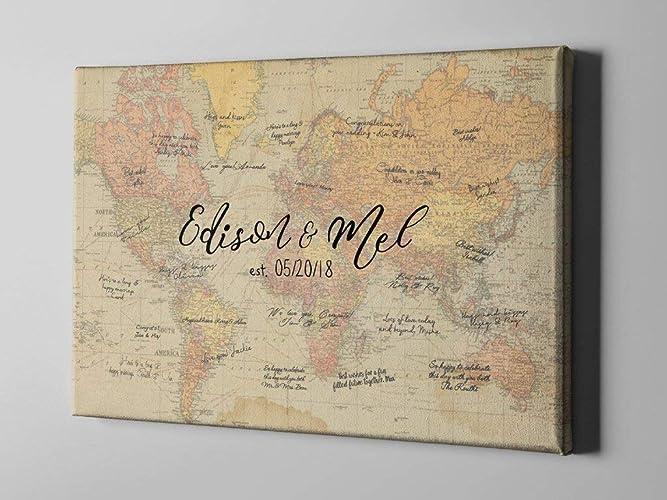Amazon Com Sale 50 Off Canvas Guest Book Vintage Rustic World Map
