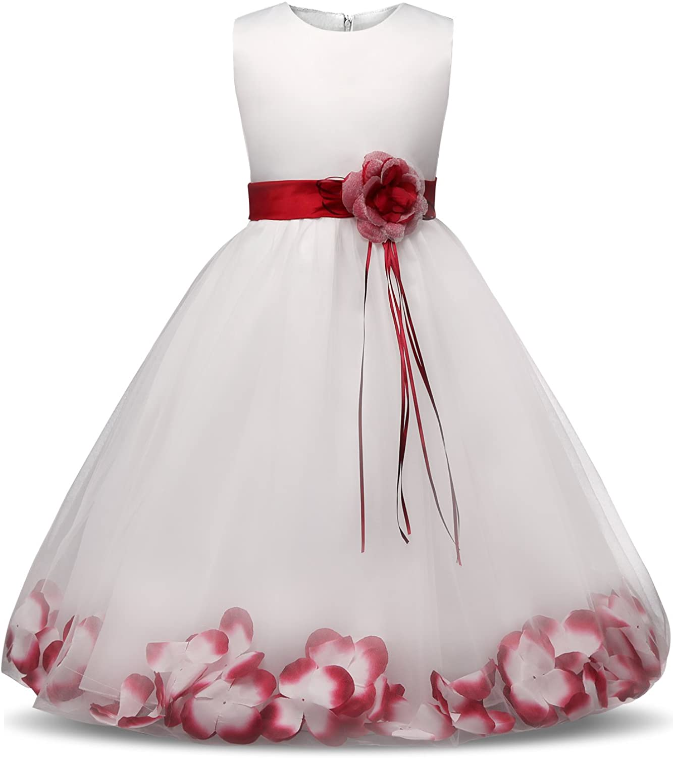 NNJXD Girl Tutu Flower Petals Bow Bridal Dress for Toddler Girl