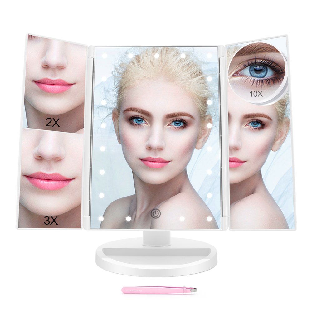 Vanity Mirror with Lights,Fascinate Trifold Mirror with Touch Screen Dimming,10x 3X 2X Magnifying Mirror,180° Adjustable Rotation,Dual Power Supply, Countertop Cosmetic LED Makeup Mirror (White) 180° Adjustable Rotation FASCINATE IN MIRROR sml