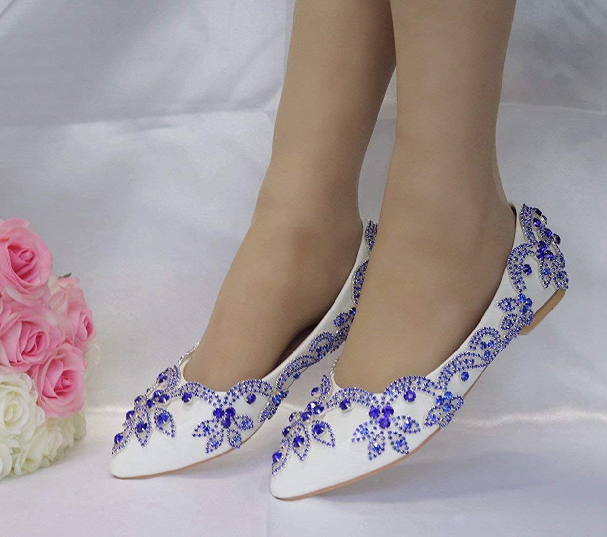 Qiusa Frauen Applique handgemachte weiße (Farbe B25Satin Hochzeit Wohnungen UK 5 (Farbe weiße   - Größe   -) 314e62