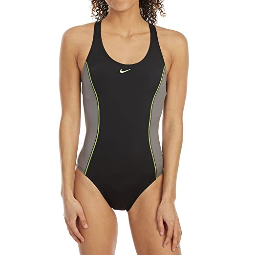 7b61c86e1a Nike Women'S Power Back Color-Block One-Piece Swimsuit Black/Grey at ...
