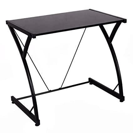 Computer Desk PC Laptop Table Glass Top For Writing Study Workstation Home  Office