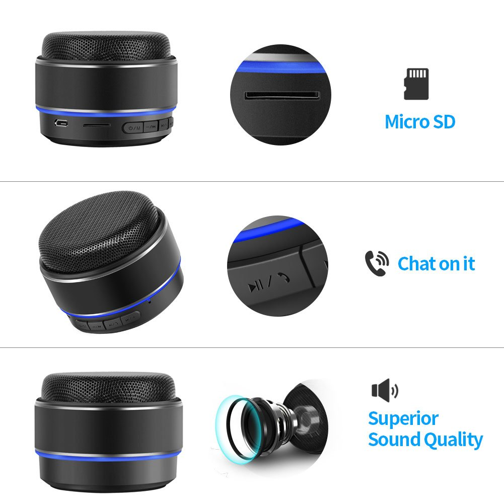 Bluetooth Speaker, Hcman wireless speakers with bluetooth 4.1,Built-in Mic for Hands-Free, SD/TF Card Slot for iPhone iPad PC Cellphone - Black
