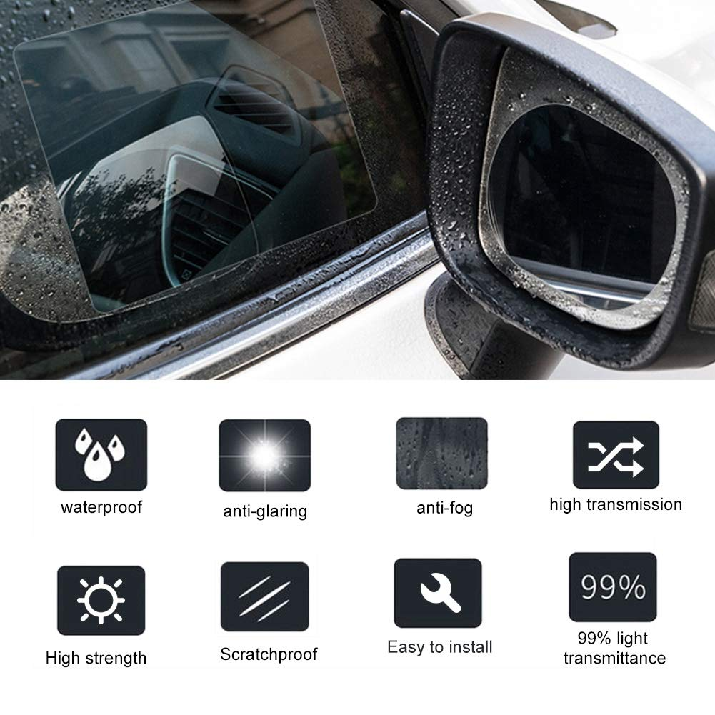 2 Pezzi Adesivo per specchietto retrovisore Auto Impermeabile Resistente alla Pioggia Pellicola Protettiva antiappannamento Ovale Alinory Pellicola per specchietti retrovisori
