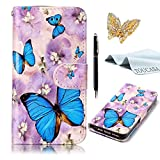 TOUCASA® MOTO G5 Case,Premium PU Leather Flip Wallet Fashionable Full body Colorful Oil painting Design with Credit Card Slots Holder Folio Book Style Magnetic Closure Stand Function Protective Cover Case for MOTO G5 + Free Touch Stylus Pen & Dust Plug-Rainbow Owl