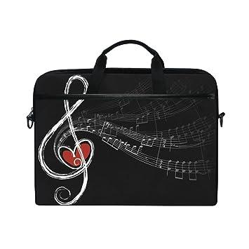 Ahomy - Bolsa para Ordenador portátil de 15 a 15,4 Pulgadas, Notas Musicales