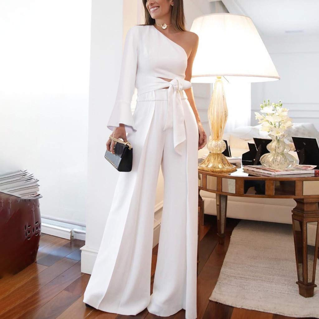 Letdown_Summer tops Women One Shoulder Top Casual Boho Long Wide Leg Two-Piece Formal for Party Outfit White by Letdown_Summer tops (Image #2)