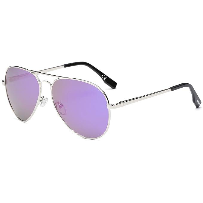 489c301932 AMZTM Clásico Moda Polarizadas Aviador Gafas De Sol De Mujer Y Hombre  Puente Doble Plateado Metal Montura Reflejado REVO Morado Lentes:  Amazon.es: Ropa y ...
