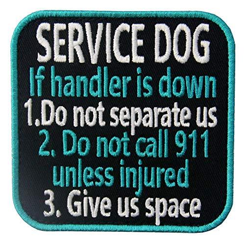 Service Dog If Handler is Down Vests/Harnesses Emblem Embroidered Fastener Hook & Loop Patch