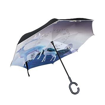 Mnsruu Paraguas invertido de Doble Capa con Dibujos de Ciervos Blancos, Paraguas Plegable Resistente al