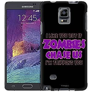Samsung Galaxy Note 4 Case, Slim Fit Snap On Cover by Trek I Like U But If Zombies Chase Us Purple on Black Slim Case