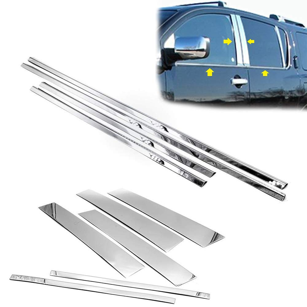 LJ INTERNATIONAL Quality Accessories Stainless Steel Window Molding Trims+Pillar Trims Compatible with Nissan Armada