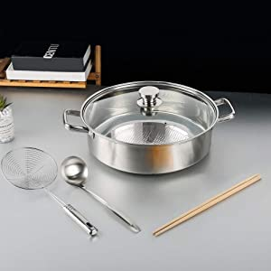 304 food grade stainless steel hot pot Chinese style pot soup pot suitable for induction cooker (Diameter 12.6