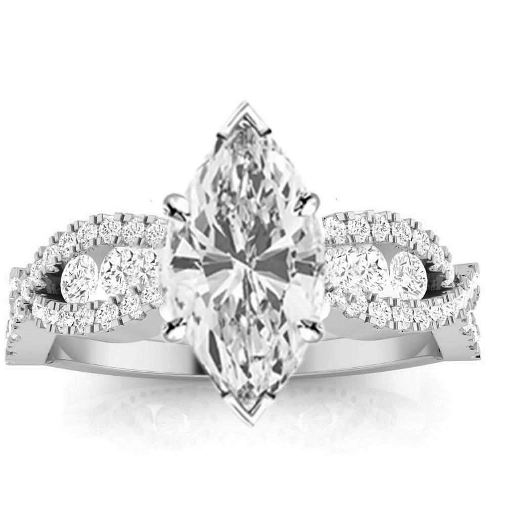 14K White Gold 1.14 CTW Designer Twisting Eternity Channel Set Four Prong Diamond Engagement Ring w/ 0.54 Ct GIA Certified Marquise Cut I Color VVS2 Clarity Center