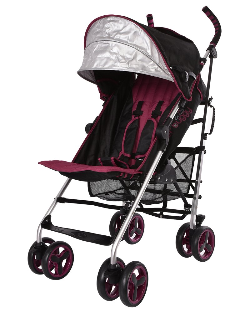 Lightweight Stroller, WonderBuggy Baby Stroller Extra Large Canopy with 5-Point Safety System and Multi-Positon Reclining Seat, Red Wine