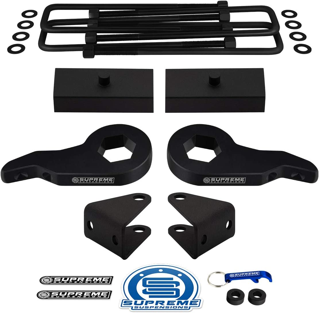 Full Lift Kit for GMC Sierra 1500HD 2500HD 3500HD Adjustable 1 to 3 Front Lift Torsion Keys Supreme Suspensions PRO Square Bend U-Bolts 8-Lug 1 Rear Lift Blocks Shock Extenders 4x2 4x4