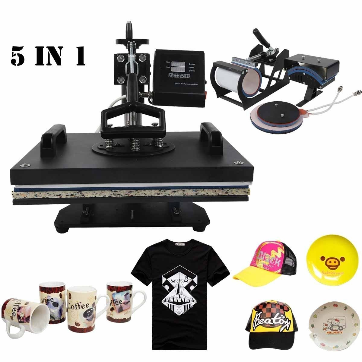 Tengchang 5 in 1 Heat Press Machine Digital Transfer Sublimation T-Shirt Mug Hat Plate Cap 15 x 12'' by XFMOTO