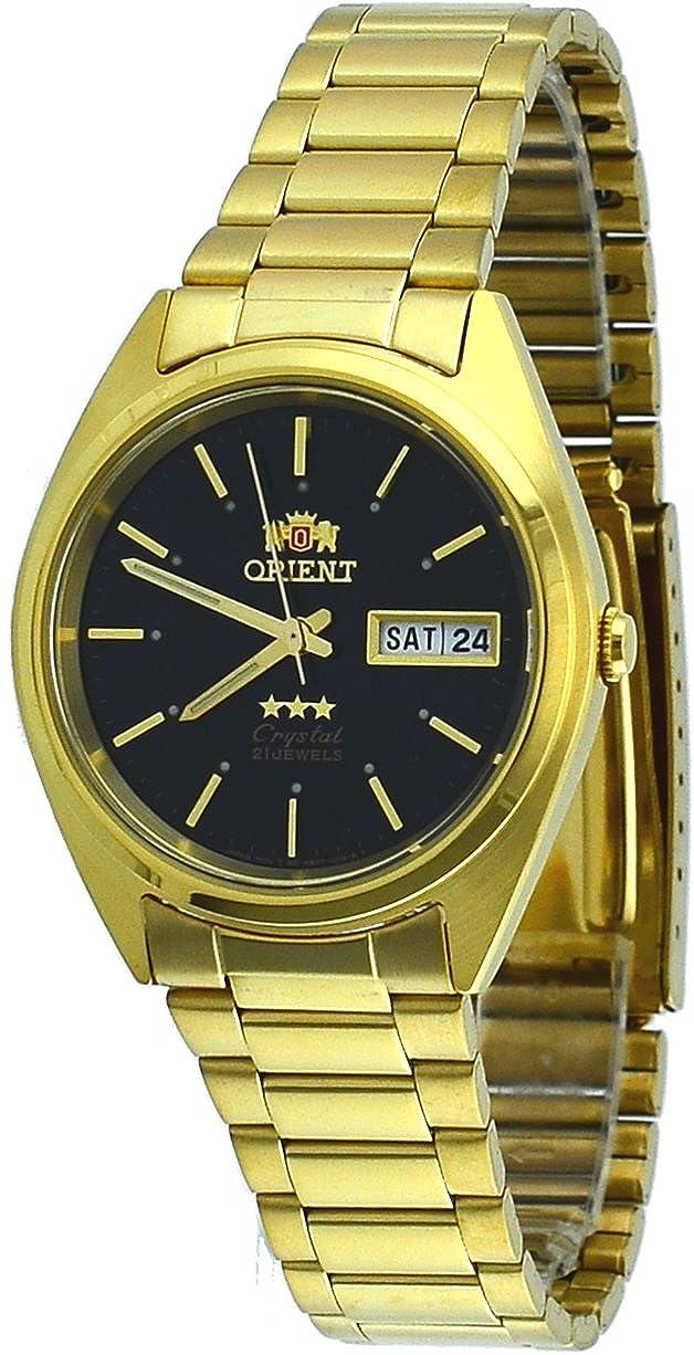 Orient # fab00004b Hombres estándar de 3 estrellas oro tono negro Dial Automático Reloj: Amazon.es: Relojes