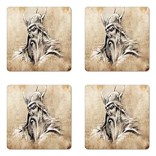Lunarable Viking Coaster Set of Four, Sketch Style Scandinavian Warrior with Beard and Hat Masculine Figure Portrait Tattoo, Square Hardboard Gloss Coasters for Drinks, Beige Tan