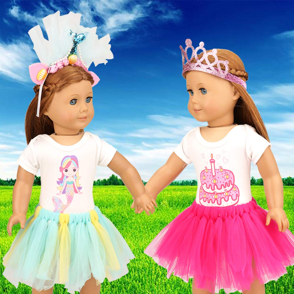 Style B: Mermaid + Crown Oufits 1 Princess Crown 2 Tutu Skirt 2 Onesies Shirt and for 18 Inch Doll BARWA 6 Pcs American 18 Inch Girl Doll Clothes and Accessories 1 Mermaid Headband