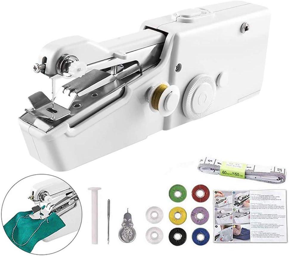 Mini Máquina de Coser - Portátil Eléctrica Costura Máquina para Casa Viaje Costura Bricolaje Tela Ropa Costura Obras, Hilo, Tijeras, Cinta de Medición